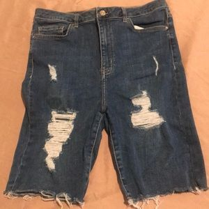 Forever 21 distressed knee length shorts